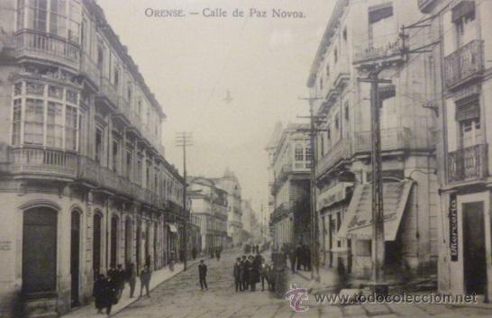 RARISIMA POSTAL DE ORENSE - OURENSE CALLE DE PAZ NOVOA COMIENZOS DEL SIGLO XX (Postales - España - Galicia Antigua (hasta 1939))