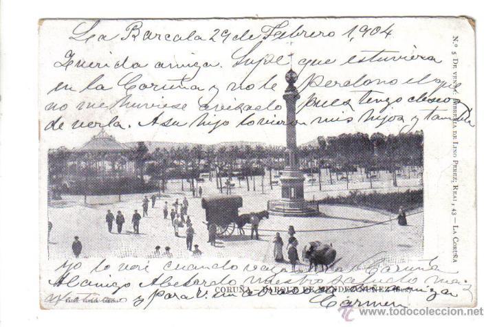 TARJETA POSTAL LA CORUÑA PARQUE DE MENDEZ NUÑEZ - FERRER - CIRCULADA 1904 (Postales - España - Galicia Antigua (hasta 1939))