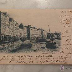 Postales: POSTAL , 6. LA CORUÑA - LA MARINA . MUELLE DE MONTOTO , FOTOGRAFIA J. GONZALEZ , CIRCULADA .. Lote 47309826