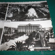 Postales: LA CORUÑA FOTO POSTAL ANTIGUA CIRCULADA1953 MENDEZ NUÑEZ RIAZOR HOTEL EMBAJADOR. Lote 48418383