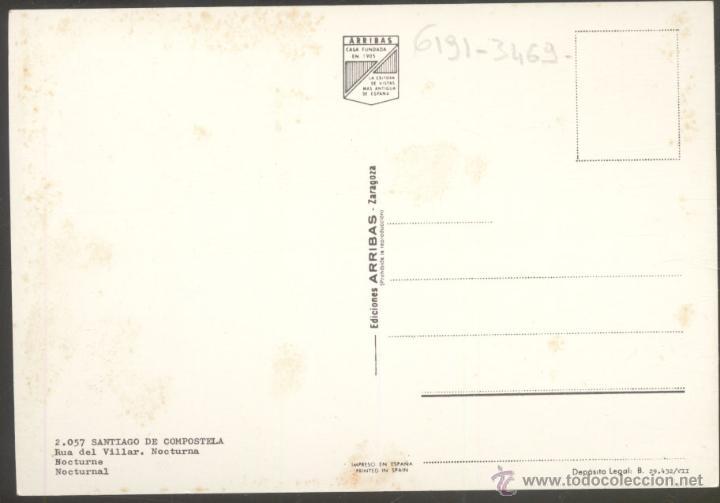 Postales: 2057- SANTIAGO DE COMPOSTELA.- Rua del Villar. Nocturna. - Foto 2 - 48490650