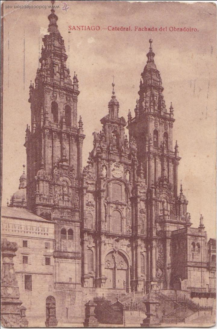 P- 1034. ANTIGUA POSTAL FOTOGRAFICA DE SANTIAGO. FACHADA DEL OBRADOIRO. (Postales - España - Galicia Antigua (hasta 1939))