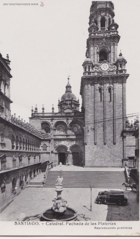 P- 1035. ANTIGUA POSTAL FOTOGRAFICA DE SANTIAGO. CATEDRAL. (Postales - España - Galicia Antigua (hasta 1939))