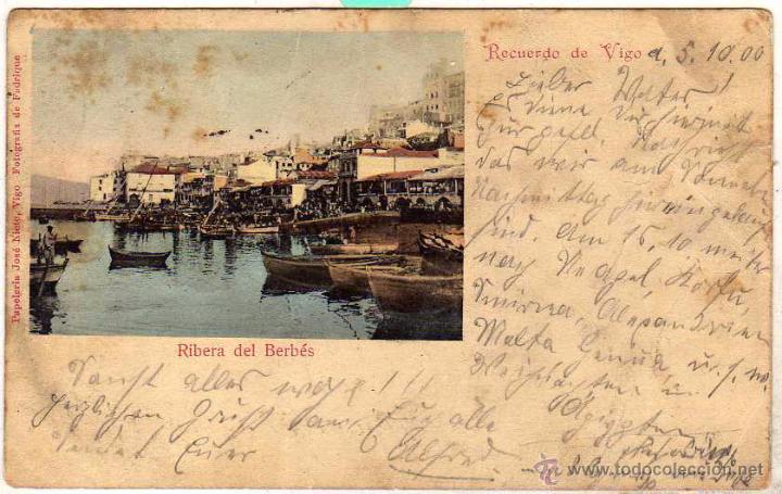 RIBERA DEL BERBÉS. PAPELERÍA JOSE NIETO. VIGO. FOTOGRAFÍA DE FADRIQUE. CIRCULADA EN 1900 (Postales - España - Galicia Antigua (hasta 1939))