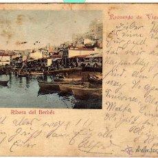 Postales: RIBERA DEL BERBÉS. PAPELERÍA JOSE NIETO. VIGO. FOTOGRAFÍA DE FADRIQUE. CIRCULADA EN 1900. Lote 49408889