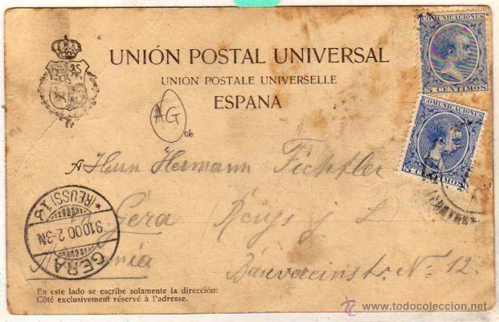 Postales: Ribera del Berbés. Papelería Jose Nieto. Vigo. Fotografía de Fadrique. circulada en 1900 - Foto 2 - 49408889