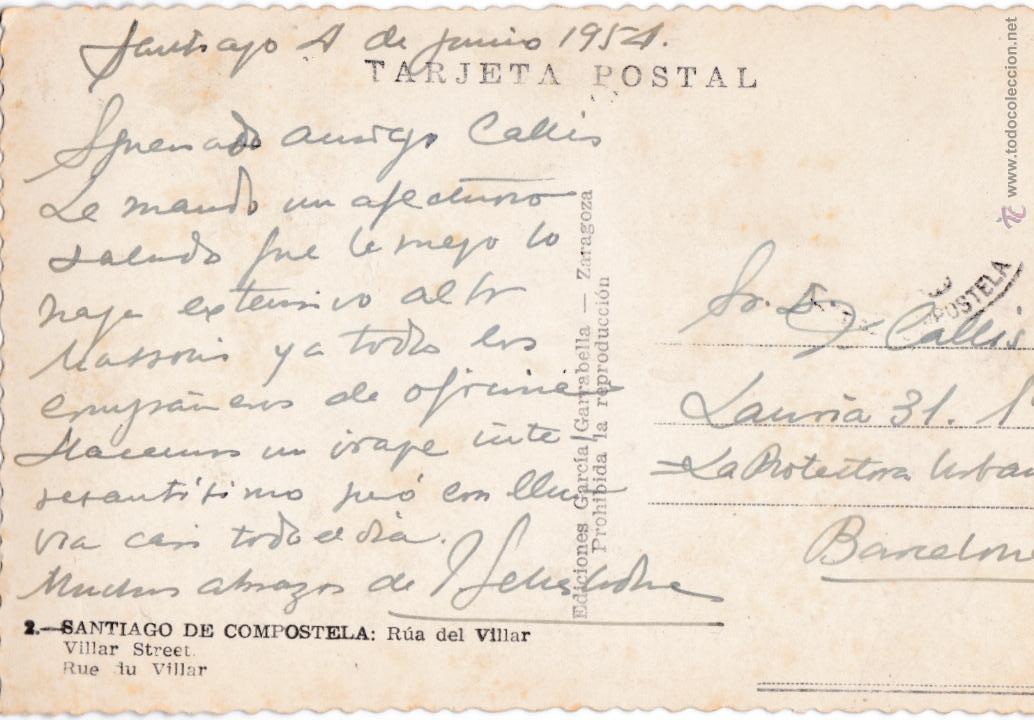 Postales: P-2712. POSTAL SANTIAGO DE COMPOSTELA Nº2 RUA DEL VILLAR. - Foto 2 - 51730134
