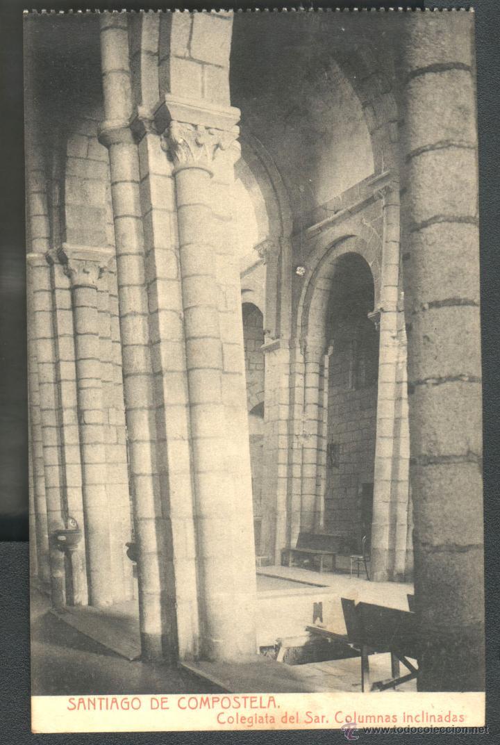 SANTIAGO DE COMPOSTELA - COLEGIATA DEL SAR - COLUMNAS INCLINADAS - FOTOTIPIA THOMAS (Postales - España - Galicia Antigua (hasta 1939))