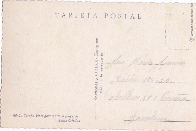 Postales: P- 2947. POSTAL LA CORUÑA. VISTA GENERAL DE LA PLAYA DE SANTA CRISTINA. ARRIBAS Nº 80. - Foto 2 - 52403562