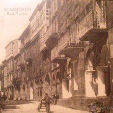 Postales: SANTIAGO COMPOSTELA, CALLE RUA NUEVA, PUBLICIDAD ELIXIR, GRAFOS, MADRID. Lote 52483770