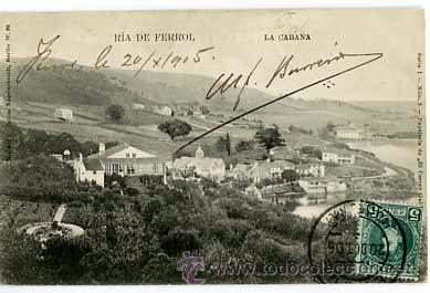 CORUÑA RIA DE FERROL LA CABANA. ED PAPELERIA CORREO GALLEGO. REVERSO SIN DIVIDIR. CIRCULADA (Postales - España - Galicia Moderna (desde 1940))