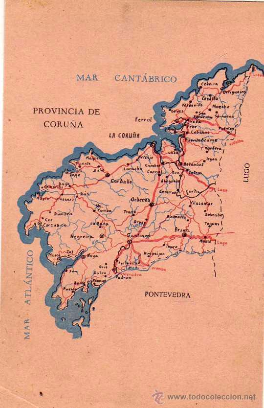 Mapa De La Provincia De Coruna Tamano Postal S Comprar Postales