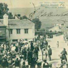 Postales: BAYONA. MERCADO DE SABARIZ. TRES ESTRELLAS ( * * * ). HAUSER Y MENET. CIRCULADA EN 1905.. Lote 54206505