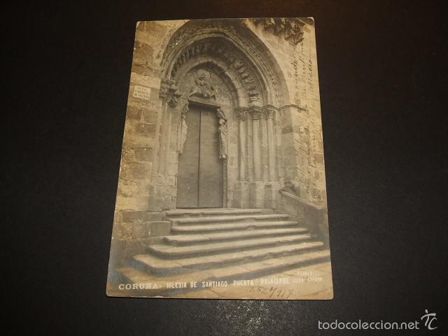 LA CORUÑA IGLESIA DE SANTIAGO PUERTA PRINCIPAL FOTO FERRER (Postales - España - Galicia Antigua (hasta 1939))