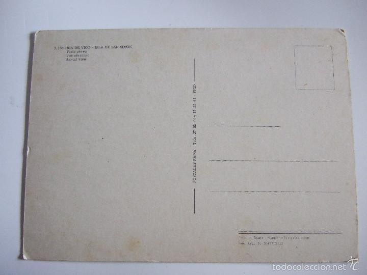 Postales: POSTAL PONTEVEDRA - RIA DE VIGO - ISLA DE SAN SIMON - 1970 - FAMA 3166 - SIN CIRCULAR - Foto 2 - 56551530