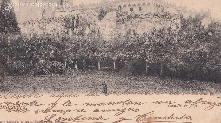 CASTILLO DE MOS (PONTEVEDRA). POSTAL BLANCO Y NEGRO, CIRCULADA. AÑO 1902 (Postales - España - Galicia Antigua (hasta 1939))