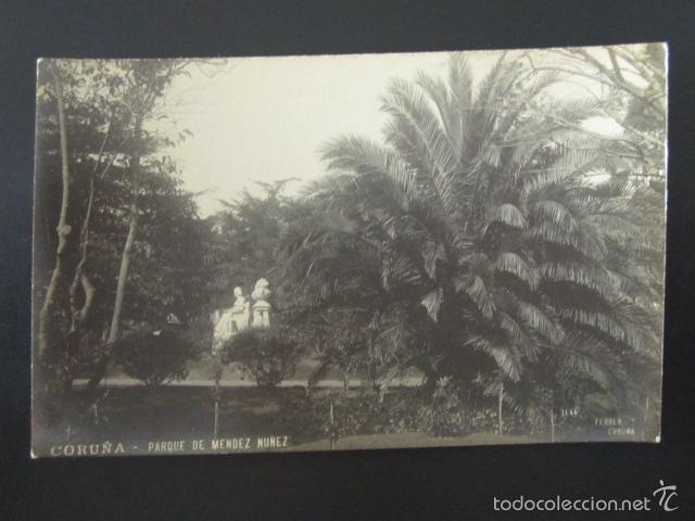 POSTAL CORUÑA. PARQUE DE MENDEZ NUÑEZ. FERRER. (Postales - España - Galicia Antigua (hasta 1939))