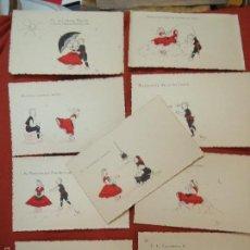 Postales: 9 POSTALES COLC. COMPLETA ILUSTRACIONES DE GALICIA MUY RARAS Y FIRMADA. Lote 218114015