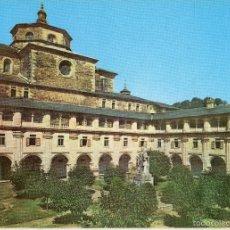 Postales: VESIV POSTAL MONASTERIO DE SAMOS Nº4 CLAUSTRO GRANDE CON EL MONUMENTO AL P. FEIJOO. Lote 57896445