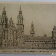 Postales: POSTAL SANTIAGO - CATEDRAL. FACHADA DEL OBRADOIRO Y GALERIA DEL CLAUSTRO. Lote 57991694