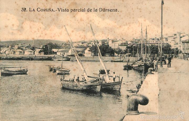LA CORUÑA - VISTA PARCIAL DE LA DARSENA - GRAFOS Nº32 (Postales - España - Galicia Antigua (hasta 1939))