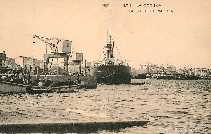 LA CORUÑA - MUELLE DE LA PALLOZA - LINO PEREZ Nº8 - BARCO (Postales - España - Galicia Antigua (hasta 1939))