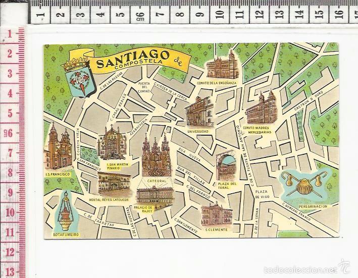 A Coruña Mapa Turistico.20 329 Tarjeta Postal Mapa Turistico Santiago De Compostela La Coruna