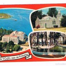 Postales: POSTAL ANTIGUA PONTEVEDRA SIN CIRCULAR LA TOJA ISLA DE ENSUEÑO GRAN HOTEL CAPILLA Y ESTANQUE CISNES. Lote 58678286