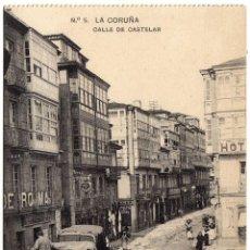 Postales: MAGNIFICA POSTAL - LA CORUÑA - CALLE DE CASTELAR - MUY AMBIENTADA . Lote 59461035