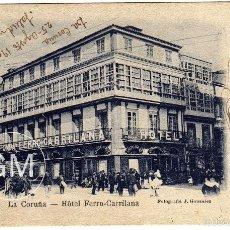 Postales: PRECIOSA POSTAL - LA CORUÑA - HOTEL FERRO-CARRILANA . Lote 59621171