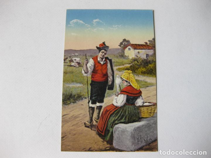 TARJETA POSTAL DE LUGO CON TRAJES TIPICOS. M. PALOMEQUE Nº 28. LUCO AUGUSTA (Postales - España - Galicia Antigua (hasta 1939))