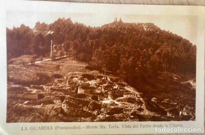 ALBUMINA LA GUARDIA PONTEVEDRA MONTE DE SANTA TECLA . VISTA DEL FACHO DESDE LA CITANIA (Postales - España - Galicia Antigua (hasta 1939))