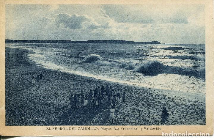 EL FERROL DEL CAUDILLO-PLAYAS -LA FRONSEIRA Y VALDOVIÑO. NIÑOS EN LA PLAYA- RARA (Postales - España - Galicia Antigua (hasta 1939))