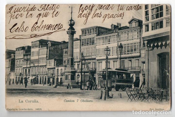 LA CORUÑA. CANTÓN 7 OBELISCO. TRANVIA. FRANQUEADA EL 22 DE OCTUBRE DE 1907. (Postales - España - Galicia Antigua (hasta 1939))