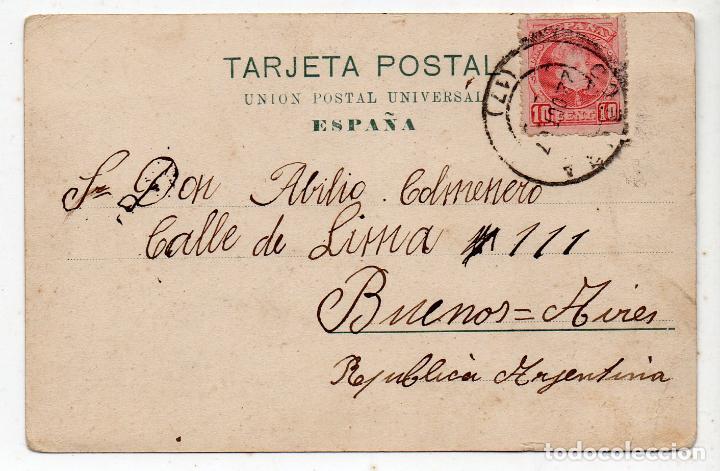 Postales: La Coruña. Cantón 7 Obelisco. Tranvia. Franqueada el 22 de Octubre de 1907. - Foto 2 - 71164949