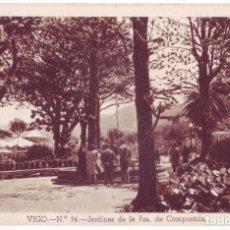 Postales: VIGO (PONTEVEDRA): JARDINES DE LA PLAZA DE COMPOSTELA. HUECOGRABADO FOURNIER. NO CIRCULADA (AÑOS 30). Lote 73543359