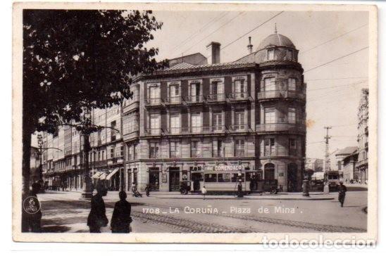 TARJETA POSTAL,LA CORUÑA ,PLAZA DE MINA. EDICIONES UNIQUE. (Postales - España - Galicia Antigua (hasta 1939))