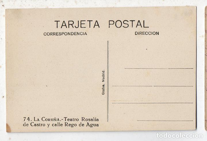 Postales: La Coruña. Teatro Rosalía y calle de Rego de Agua. - Foto 2 - 80097685