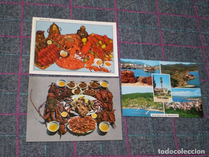 LOTE DE 3 POSTALES DE GALICIA. PENÍNSULA DE MORRAZO. (Postales - España - Galicia Moderna (desde 1940))