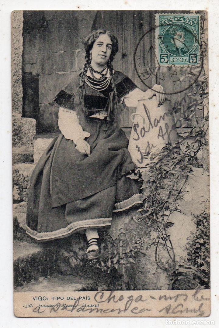 VIGO. TIPOS DEL PAÍS. FRANQUEADA EL 4 DE SEPTIEMBRE DE 1909. (Postales - España - Galicia Antigua (hasta 1939))
