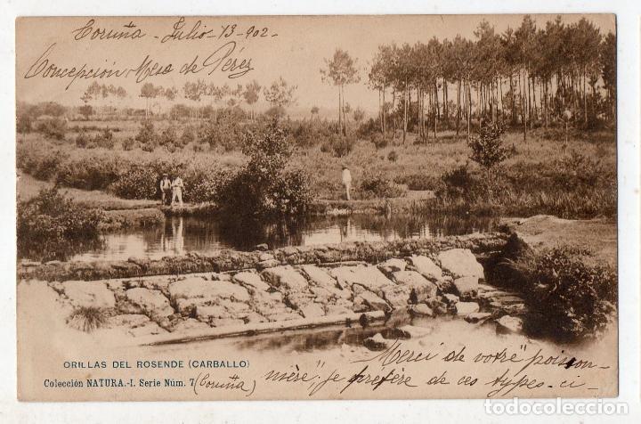 ORILLAS DEL ROSENDE. CARBALLO. FRANQUEADA EL 14 DE JULIO DE 1902. (Postales - España - Galicia Antigua (hasta 1939))