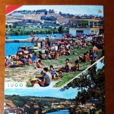 Postales: ANTIGUA POSTAL LUGO. PLAYA Y PUENTE ROMANO SOBRE EL RIO MIÑO.. Lote 83692636