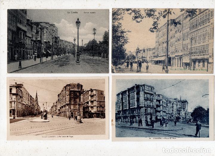 LOTE DE 4 POSTALES ANTIGUAS CALLES DE LA CORUÑA. (Postales - España - Galicia Antigua (hasta 1939))