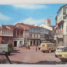 Postales: VIANA DEL BOLLO ( ORENSE ) PLAZA MAYOR Y CASTILLO. 2 CV.. Lote 106070352