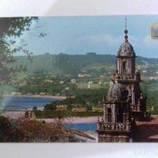 Postales: Nº 9 PONTEDEUME-TORRES DE LA IGLESIA PARROQUIAL Y PLAYA AL FONDO-TARJETA POSTAL. Lote 86761952