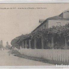 Cartoline: 9 CALDELAS DE TUY. AVENIDA DE LA ESTACIÓN Y HOTEL SANTORO. AMBULANTE MONFORTE VIGO. Lote 90526820