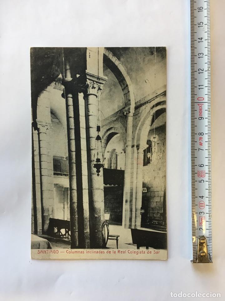 POSTAL. SANTIAGO- COLUMNAS INCLINADAS DE LA REAL COLEGIATA DE SAR (H.1910?) (Postales - España - Galicia Antigua (hasta 1939))