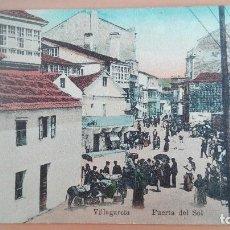 Postales: POSTAL VILLAGARCIA DE AROSA PUERTA DEL SOL PONTEVEDRA GALICIA FERIA MERCADO COLOR ANIMADA. Lote 99943427