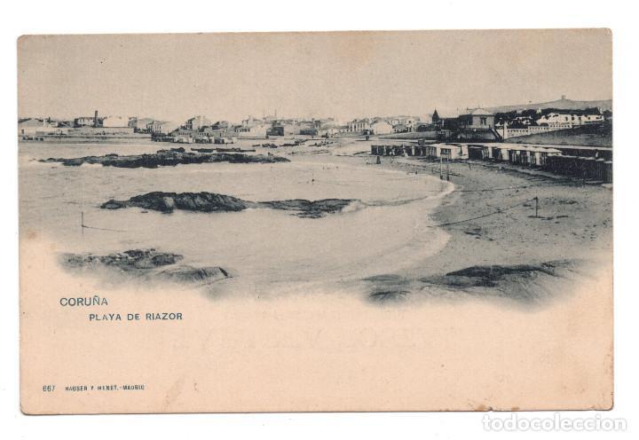 LA CORUÑA. PLAYA DE RIAZOR. HAUSER&MENET 667 (Postales - España - Galicia Antigua (hasta 1939))