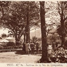 Postales: VIGO JARDINES DE LA PLAZA DE COMPOSTELA AÑO 1948 . Lote 106105967